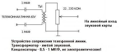 Схема подключение телефонной линии к звуковой карте
